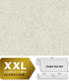 Blumen Tapete EDEM 9040-20 heißgeprägte Vliestapete geprägt mit floralem Muster glänzend creme weiß grau 10, 65 m2