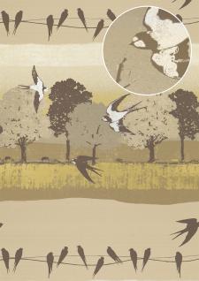 Vogel Tapete Atlas SIG-583-3 Vliestapete glatt mit Landschaften und metallischen Akzenten beige grau-braun hell-elfenbein perl-gold 5, 33 m2
