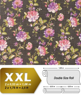 Blumen Tapete Vlies EDEM 603-94 XXL Blumentapete florales Muster mit Blättern Textilstruktur Retro braun rosa grün 10, 65 qm