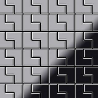 Mosaik Fliese massiv Metall Edelstahl hochglänzend in grau 1, 6mm stark ALLOY Kink-S-S-M Designed by Karim Rashid 0, 93 m2