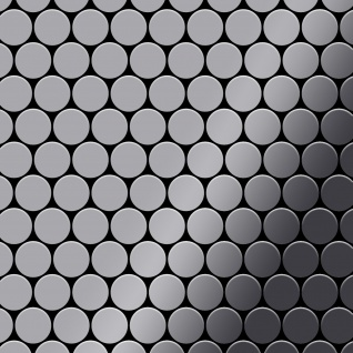 Mosaik Fliese massiv Metall Edelstahl hochglänzend in grau 1, 6mm stark ALLOY Dollar-S-S-M 0, 88 m2