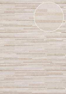 Stein-Kacheln Tapete Atlas ICO-5076-2 Vliestapete glatt in Steinoptik schimmernd weiß grau-weiß gold 7, 035 m2