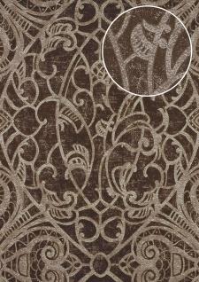 Barock Tapete ATLAS CLA-597-9 Vliestapete geprägt mit grafischem Muster glänzend braun perl-gold braun-grau 5, 33 m2