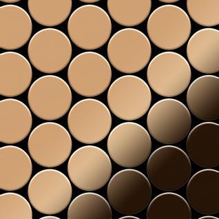 Mosaik Fliese massiv Metall Titan hochglänzend in kupfer 1, 6mm stark ALLOY Medallion-Ti-AM 0, 73 m2