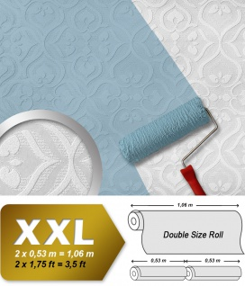 Barock Tapete EDEM 83001BR60 Vliestapete zum Überstreichen strukturiert mit Ornamenten matt weiß 26, 50 m2