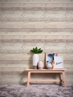Holz Tapete Profhome 368702-GU Vliestapete glatt in Holzoptik matt grau weiß beige 5, 33 m2 - Vorschau 4