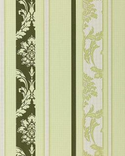 Barock Tapete Streifen-Tapete EDEM 053-25 Damask Relief-Ornamente Flock-Optik Moosgrün weiß pastell-grün