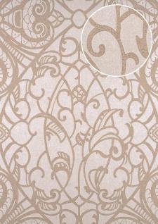 Barock Tapete ATLAS CLA-597-6 Vliestapete geprägt mit grafischem Muster glänzend creme beige-grau weiß 5, 33 m2