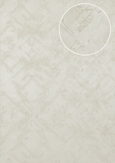 Grafik Tapete Atlas SIG-580-1 Vliestapete strukturiert mit abstraktem Muster schimmernd creme perl-weiß grau-weiß 5, 33 m2