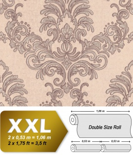 Barock Tapete EDEM 9084-24 heißgeprägte Vliestapete geprägt mit floralen Ornamenten und metallischen Akzenten beige grau silber 10, 65 m2