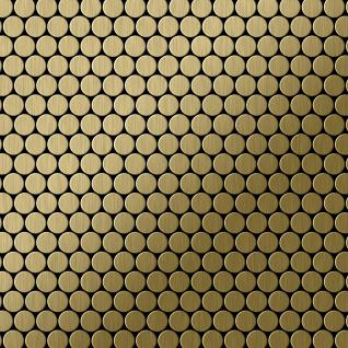Mosaik Fliese massiv Metall Titan gebürstet in gold 1, 6mm stark ALLOY Penny-Ti-GB 0, 88 m2