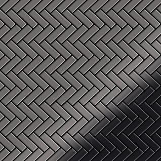 Mosaik Fliese massiv Metall Titan hochglänzend in dunkelgrau 1, 6mm stark ALLOY Herringbone-Ti-SM 0, 85 m2