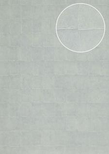 Stein-Kacheln Tapete Atlas INS-5080-7 Strukturtapete geprägt mit geometrischen Formen schimmernd blau silber-grau blass-blau 7, 035 m2