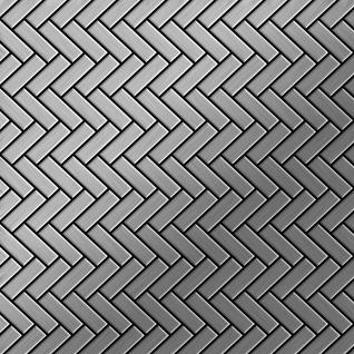 Mosaik Fliese massiv Metall Edelstahl marine gebürstet in grau 1, 6mm stark ALLOY Herringbone-S-S-MB 0, 85 m2