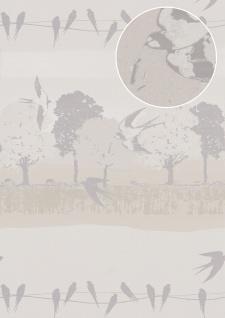 Vogel Tapete Atlas SIG-583-4 Vliestapete glatt mit Landschaften und metallischen Akzenten weiß perl-weiß grau-weiß silber-grau 5, 33 m2