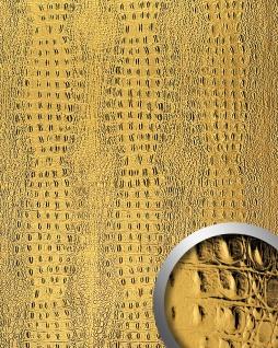 Wandpaneel 3D Luxus Leder WallFace 14300 CROCO Blickfang Dekor Wand-verkleidung selbstklebende Tapete Gold | 2, 60 qm
