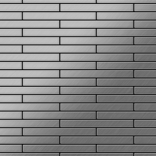 Mosaik Fliese massiv Metall Edelstahl gebürstet in grau 1, 6mm stark ALLOY Deedee-S-S-B 0, 63 m2
