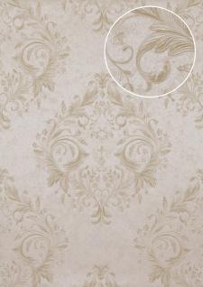 Barock Tapete Atlas ATT-5083-2 Luxus Vliestapete geprägt mit floralen Ornamenten glänzend creme hell-elfenbein gold 7, 035 m2