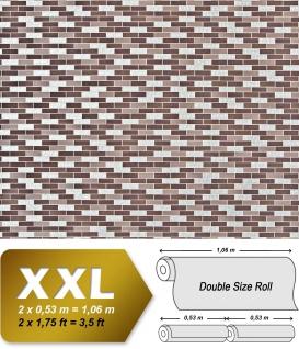 Stein Tapete Kacheln XXL Vliestapete EDEM 991-36 Fliesen Optik Metallic Ornamente braun taupe silber schokobraun metallic 10, 65 m2