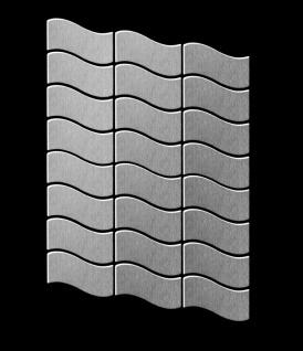 Mosaik Fliese massiv Metall Edelstahl gebürstet in grau 1, 6mm stark ALLOY Flux-S-S-B Designed by Karim Rashid 0, 86 m2 - Vorschau 3