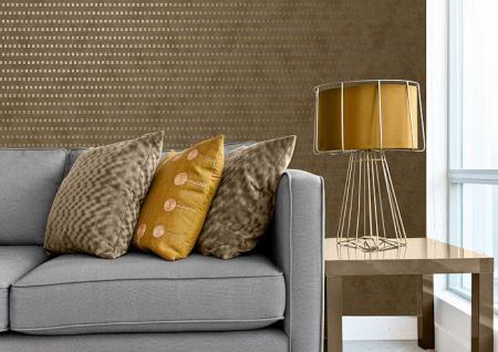 Grafik Tapete Atlas ICO-1705-2 Vliestapete glatt mit abstraktem Muster schimmernd beige gold 5, 33 m2 - Vorschau 2