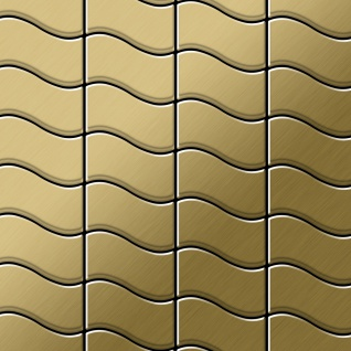 Mosaik Fliese massiv Metall Titan gebürstet in gold 1, 6mm stark ALLOY Flux-Ti-GB Designed by Karim Rashid 0, 86 m2