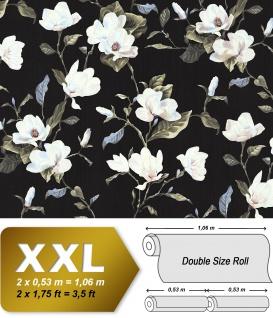 Blumen Tapete EDEM 9000-29 Vliestapete geprägt im romantischen Design matt schwarz creme-weiß beige grün 10, 65 m2