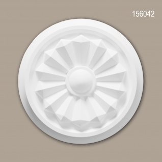 Rosette PROFHOME 156042 Zierelement Deckenelement Zeitloses Klassisches Design weiß Ø 20, 3 cm