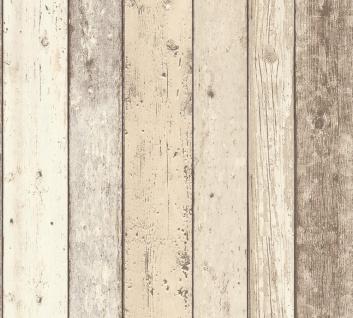 Holz Tapete Profhome 895110-GU Vliestapete glatt in Holzoptik matt beige braun weiß 5, 33 m2