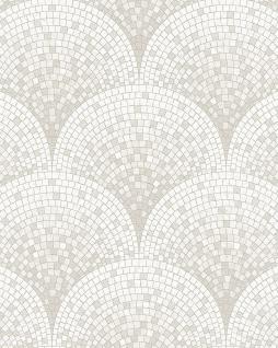 Stein Kacheln Tapete Profhome BA220041-DI heißgeprägte Vliestapete geprägt mit Mosaik Muster dezent schimmernd weiß creme-weiß 5, 33 m2