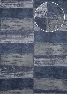 Stein-Kacheln Tapete Atlas ICO-5072-7 Vliestapete glatt mit Natur-Mustern schimmernd blau schwarz-blau stahl-blau silber 7, 035 m2