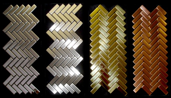 Mosaik Fliese massiv Metall Edelstahl hochglänzend in grau 1, 6mm stark ALLOY Herringbone-S-S-M 0, 85 m2 - Vorschau 4