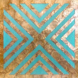 Luxus Muschel Wandverkleidung Wallface LU06-5 CAPIZ Dekorfliesen Set handgearbeitet mit echten Muscheln und Glasperlen Perlmutt Optik beige türkis bronze 1 m2