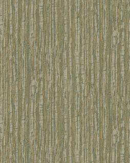 Streifen Tapete Profhome DE120085-DI heißgeprägte Vliestapete geprägt mit Streifen glänzend grün oliv-grün gold 5, 33 m2
