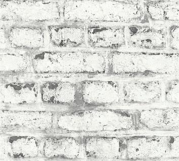 Stein Kacheln Tapete Profhome 362802-GU Vliestapete leicht strukturiert in Steinoptik matt weiß grau 5, 33 m2