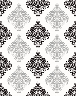 Barock Tapete EDEM 85024BR20 Vinyltapete glatt mit Ornamenten und metallischen Akzenten weiß schwarz silber 5, 33 m2