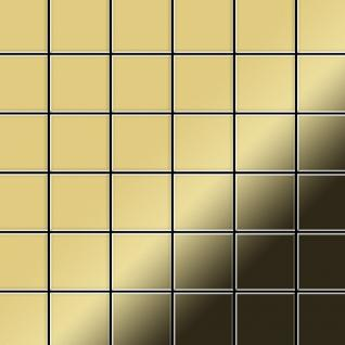 Mosaik Fliese massiv Metall Messing gewalzt in gold 1, 6mm stark ALLOY Cinquanta-BM 0, 94 m2