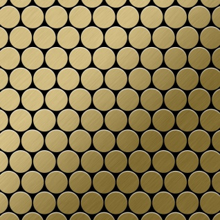 Mosaik Fliese massiv Metall Titan gebürstet in gold 1, 6mm stark ALLOY Dollar-Ti-GB 0, 88 m2