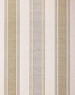 Streifen-Tapete EDEM 508-20 Hochwertige geprägte Tapete in Textiloptik und Metallic Effekt hell-elfenbein perl-gold silber 5, 33 m2