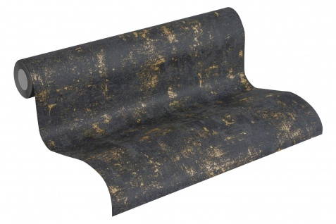 Stein Kacheln Tapete Profhome 230782-GU Vliestapete leicht strukturiert in Steinoptik matt schwarz gold 5, 33 m2 - Vorschau 2