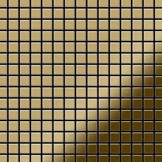 Mosaik Fliese massiv Metall Titan hochglänzend in gold 1, 6mm stark ALLOY Mosaic-Ti-GM 1, 04 m2