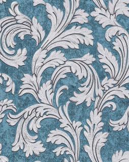 Barock Tapete EDEM 1032-12 Vinyltapete glatt mit Ornamenten und Metallic Effekt blau petrol silber platin 5, 33 m2
