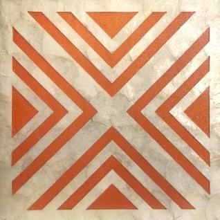 Muschel Wandverkleidung Wallface LU05-5 CAPIZ Dekorfliesen Set handgearbeitet mit echten Muscheln und Glasperlen Perlmutt Optikcreme weiß orange 1 m2