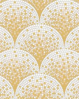 Stein Kacheln Tapete Profhome BA220042-DI heißgeprägte Vliestapete geprägt mit Mosaik Muster glänzend gold weiß beige 5, 33 m2
