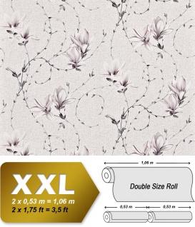 Landhaus Tapete Blumen XXL Vliestapete EDEM 902-10 Florales Design hochwertige Textiloptik schwarz weiß grau rosé 10, 65 m2