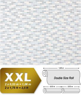 Stein Tapete Kacheln XXL Vliestapete EDEM 991-39 Fliesen Optik Metallic Ornamente hellblau hellgrau silber metallic 10, 65 m2