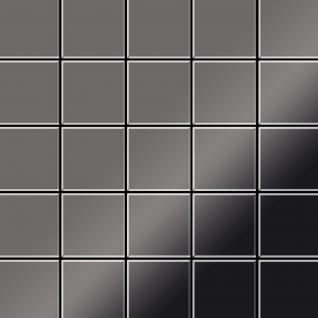 Mosaik Fliese massiv Metall Titan hochglänzend in dunkelgrau 1, 6mm stark ALLOY Century-Ti-SM 0, 5 m2