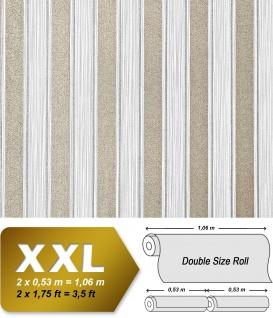 Streifen Tapete XXL Vliestapete EDEM 658-90 Elegante Blockstreifen Tapete weiß grau bronze dezente glitzer 10, 65 m2