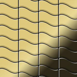 Mosaik Fliese massiv Metall Messing gewalzt in gold 1, 6mm stark ALLOY Flux-BM Designed by Karim Rashid 0, 86 m2