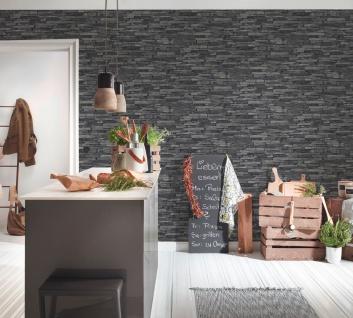 Stein Kacheln Tapete Profhome 914224-GU Vliestapete glatt in Steinoptik matt grau schwarz 5, 33 m2 - Vorschau 4